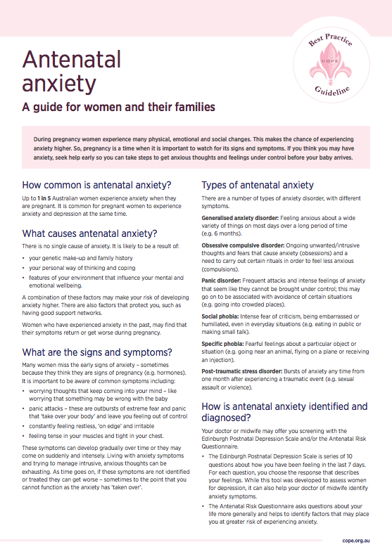 A factsheet with information about antenatal anxiety