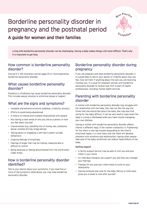 Consumer factsheet on borderline personality disorder in pregnancy and the postnatal period