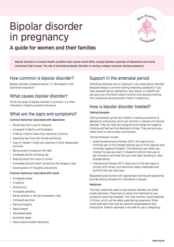 Consumer factsheet on bipolar during pregnancy