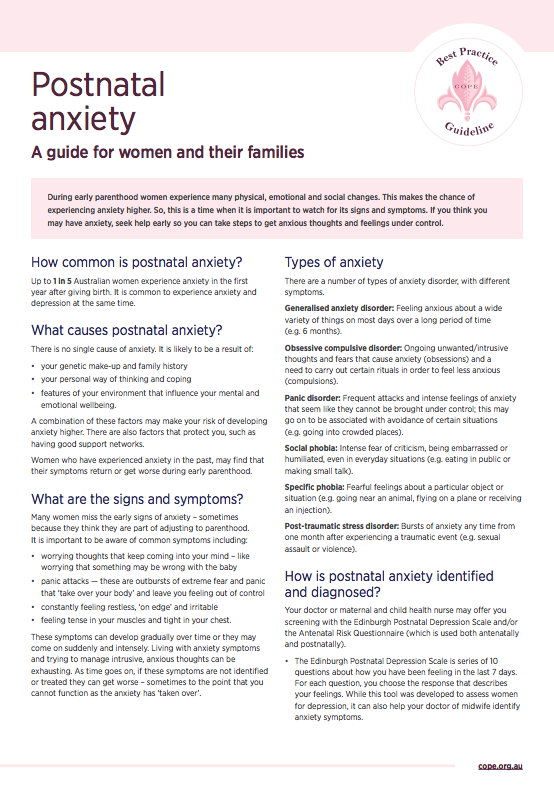 Consumer factsheet on postnatal anxiety
