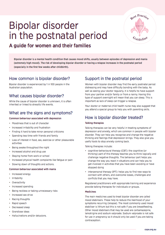 Consumer factsheet on bipolar disorder in the postnatal period