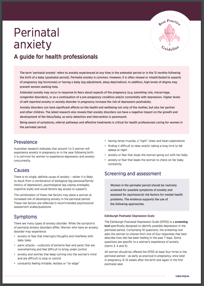 Perinatal Mental Health Fact Sheets For Health Professionals Cope