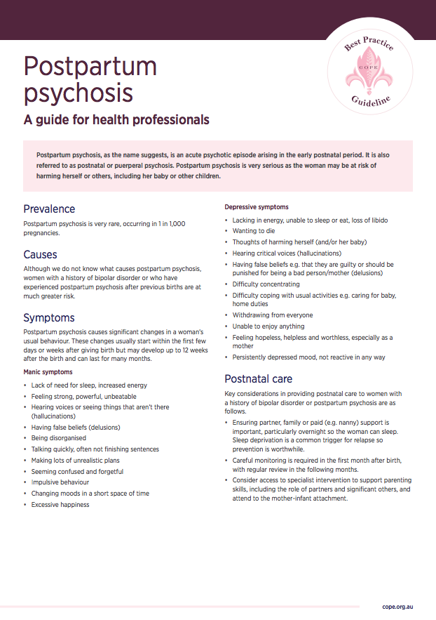 Factsheet for health professionals on postpartum psychosis