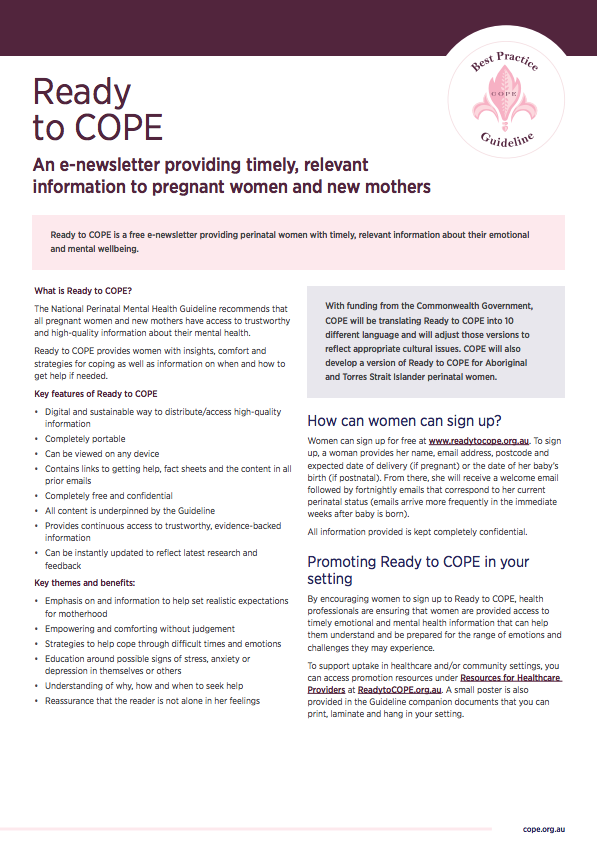 Factsheet on the Ready to COPE Guide